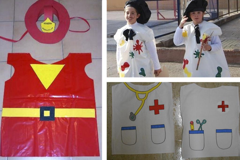 disfraz de bombero, pintor o doctora con bolsa de basura