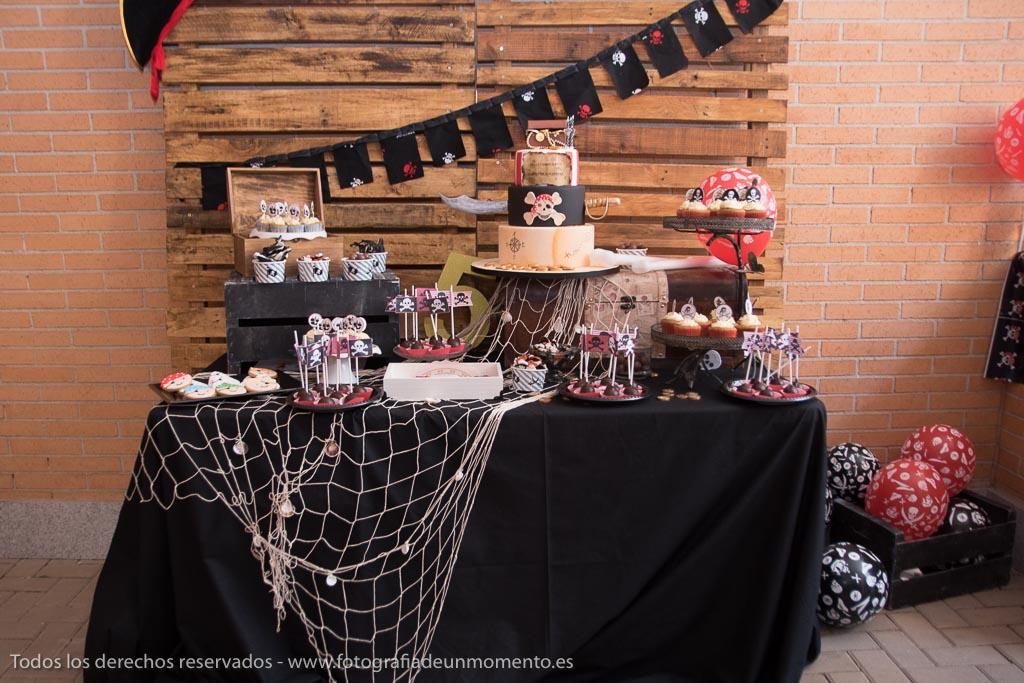decoración mesa dulce de pirata